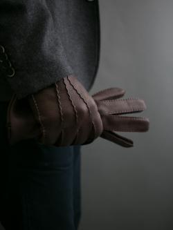 DENTS | CAMBRIDGE Bark ハンドソーンディアスキングローブ カシミアライニングの商品画像