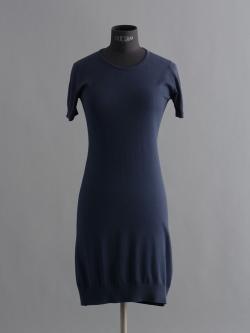 JOHN SMEDLEY | GAIL Navy コットン半袖クルーネックドレスの商品画像