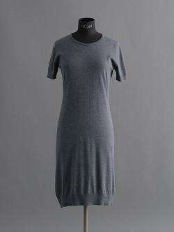 JOHN SMEDLEY | GAIL Charcoal コットン半袖クルーネックドレスの商品画像
