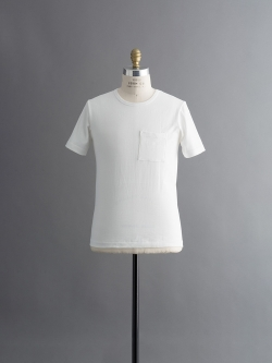 Merz b.Schwanen | ARMY SHIRT WITH CHEST POCKET 1/4 White ヘビーウェイト半袖Tシャツの商品画像