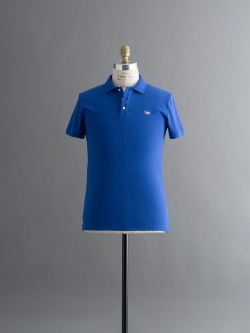 MAISON KITSUNE | POLO WITH TRICOLOR FOX PATCH Blue 半袖ワッペンポロシャツの商品画像