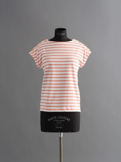 PETIT BATEAU | MARINIERE SAILOR T-SHIRT White/Orange 肩ボタンマリニエール半袖Tシャツの商品画像