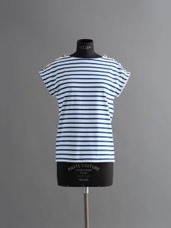 PETIT BATEAU | MARINIERE SAILOR T-SHIRT White/Blue 肩ボタンマリニエール半袖Tシャツの商品画像