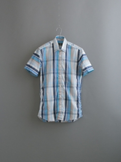 GITMAN BROTHERS | STRIPE OVER PLAID SHORT SLEEVE SHIRT Blue/Brown 半袖マルチチェックシャツの商品画像