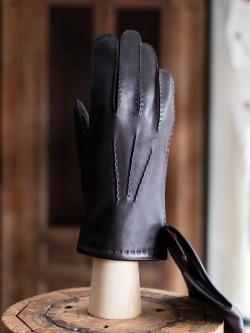 DENTS | CHELSEA Brown ハンドソーンヘアシープグローブ カシミアライニングの商品画像