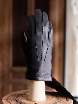 DENTS | CHELSEA Black ハンドソーンヘアシープグローブ カシミアライニングの商品画像