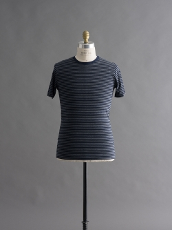 SUNSPEL | ENGLISH STRIPE CREW NECK T-SHIRT Charcoal Melange/Navy 半袖ボーダーTシャツの商品画像