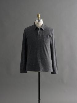SUNSPEL | COTTON EYELET STITCH LONG SLEEVE POLO SHIRT Charcoal Marl アイレットステッチ長袖ポロシャツの商品画像