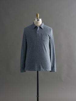 SUNSPEL | COTTON EYELET STITCH LONG SLEEVE POLO SHIRT Masonry Marl アイレットステッチ長袖ポロシャツの商品画像