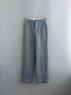 FRANK LEDER   SOFT WOVEN LINEN PANT Grey リネンシンチバックストレートパンツの商品画像