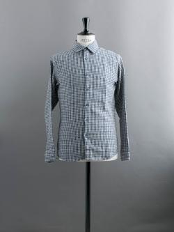 FRANK LEDER | DOGTOOTH LINEN SHIRT Blue/Beige チェックリネンシャツの商品画像