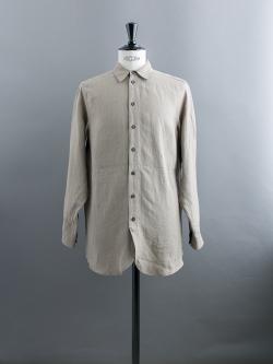 FRANK LEDER | BYCOLOR LINEN SHIRT Black/Brown バイカラーリネンシャツの商品画像