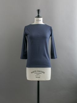 SUNSPEL | LONG-STAPLE COTTON BOAT NECK T-SHIRT Navy 七分袖ボートネックTシャツの商品画像