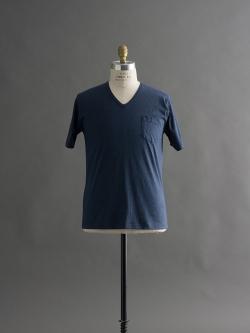 GICIPI | 1705P Blue Melange マーセライズコットンVネックTシャツの商品画像