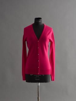 JOHN SMEDLEY | NETTLE Hayworth Pink ウールVネックカーディガンの商品画像
