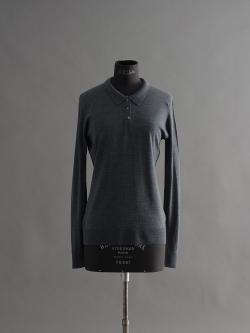 JOHN SMEDLEY | LIZA Charcoal ウール長袖ポロシャツの商品画像