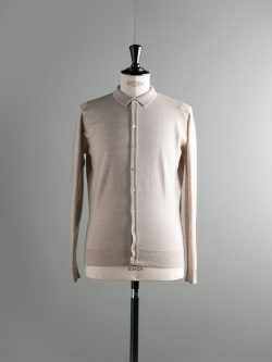 JOHN SMEDLEY | PARWISH Eastwood Beige ウールニットシャツの商品画像