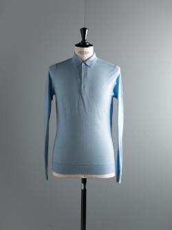 JOHN SMEDLEY | BELPER Hayward Blue ウールニットポロシャツの商品画像
