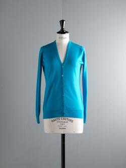 JOHN SMEDLEY | NETTLE Gaudi Blue ウールVネックカーディガンの商品画像