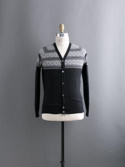 JOHN SMEDLEY | AVENUE Black ウールフェアアイルVネックカーディガンの商品画像