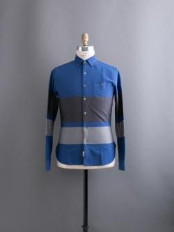 TODD SNYDER | BLUE BLACK STRIPE SHIRT コットンパネルボーダーシャツの商品画像