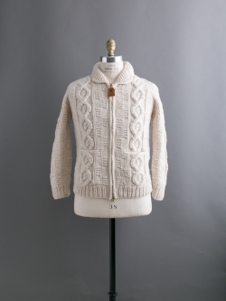 CANADIAN SWEATER COMPANY | CABLE KNIT ZIP CARDIGAN Ecru カウチンカーディガンの商品画像