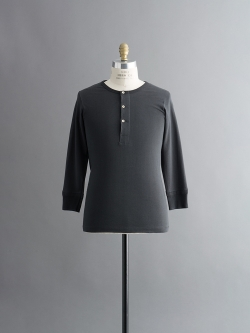 Merz b.Schwanen | BUTTON FACING SHIRT 1/1 Black 長袖ヘンリーネックカットソー