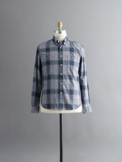 STEVEN ALAN / CLASSIC COLLEGIATE SHIRT Large Navy Check