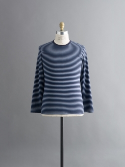 SUNSPEL | LONG-STAPLE COTTON LONG SLEEVE T-SHIRT Navy Stripe Q82 ロングスリーブボーダーTシャツの商品画像