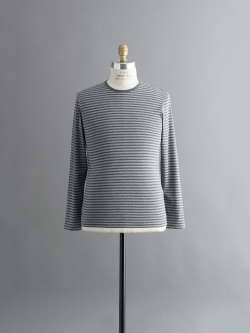 SUNSPEL | LONG-STAPLE COTTON LONG SLEEVE T-SHIRT Charcoal Melange Stripe Q82 ロングスリーブボーダーTシャツの商品画像