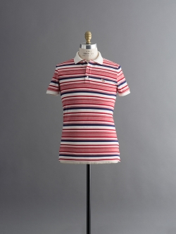 MAISON KITSUNE | POLO IRREGULAR STRIPES Red Stripe マルチボーダーポロシャツの商品画像