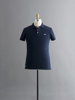 MAISON KITSUNE | POLO WITH TRICOLOR FOX PATCH Navy 半袖ワッペンポロシャツの商品画像