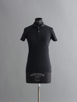 SUNSPEL | LONG-STAPLE COTTON JERSEY POLO SHIRT Black 丸襟半袖ポロシャツの商品画像