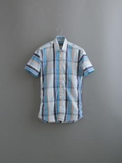 GITMAN BROTHERS | STRIPE OVER PLAID SHORT SLEEVE SHIRT Blue/Brown 半袖マルチチェックシャツの商品画像