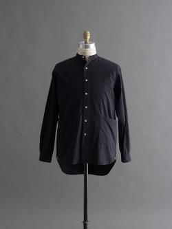 YARMO | BAND COLLAR SHIRTS Navy コットンキャンブリックバンドカラーシャツの商品画像