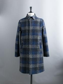 MAISON KITSUNE | OVERSIZE CHECK CLASSIC COAT Blue ウールチェックバルマカーンコートの商品画像