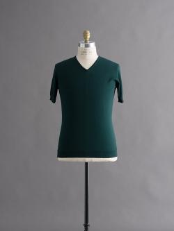 JOHN SMEDLEY | BRAEDON Deep Green コットン半袖Vネックニットの商品画像