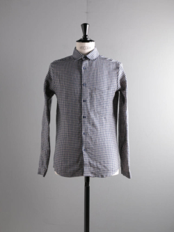 FRANK LEDER | DOGTOOTH LINEN SHIRT Blue/Beige チェックリネンシャツ