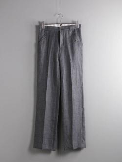 FRANK LEDER | SOFT WOVEN LINEN PANT Grey リネンシンチバックストレートパンツの商品画像