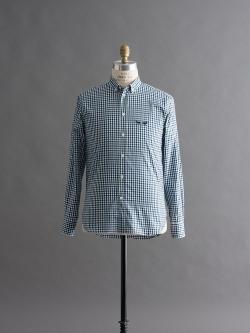 MAISON KITSUNE | CHECK CLASSIC SHIRT Green Navy Check コットンチェックシャツの商品画像