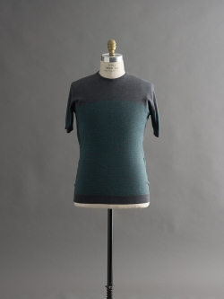 JOHN SMEDLEY | ZESTER Charcoal コットン半袖ボーダーニットの商品画像