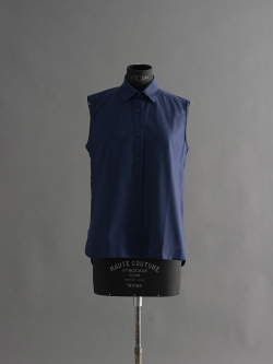 SUNSPEL | LONG-STAPLE COTTON SLEEVELESS SHIRT Indigo コットンノースリーブシャツの商品画像