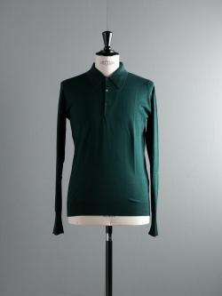JOHN SMEDLEY | BUXTON Deep Green コットン長袖ニットポロシャツの商品画像