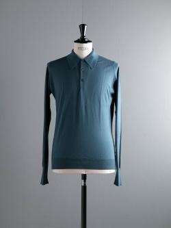 JOHN SMEDLEY | BUXTON Brando Blue コットン長袖ニットポロシャツの商品画像
