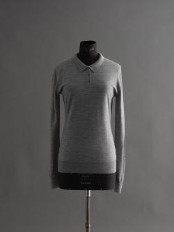 JOHN SMEDLEY | LIZA Silver ウール長袖ポロシャツの商品画像