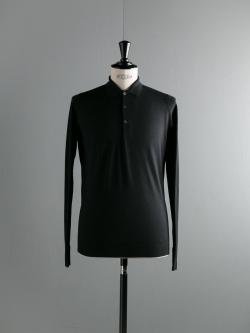 JOHN SMEDLEY | COTSWOLD Black ウールニットポロシャツの商品画像