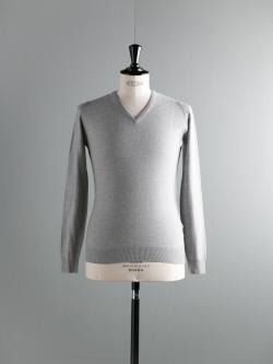 JOHN SMEDLEY × Vネック | 3.SINGULAR Bardot Grey ウール深Vネックハニカムニット