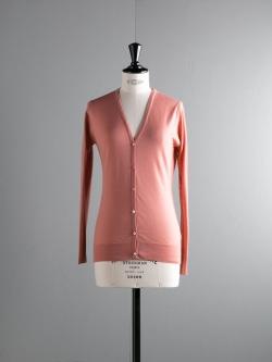 JOHN SMEDLEY | NETTLE Beige Rose ウールVネックカーディガンの商品画像