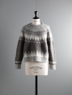 BATONER | BN-17FL-025 Gray モヘアウールアルパカノルディック柄セーターの商品画像
