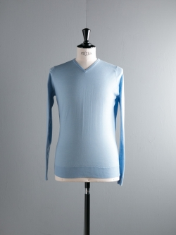 JOHN SMEDLEY | SHIPTON Hayward Blue -1 ウール浅Vネックニットの商品画像